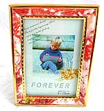 Fashion slope stand plastic picture frame, gloden metal embedded edge