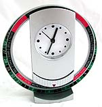 Straight facet metal clock in celestrial circle stand