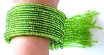 Handmade multi green glass sead bead string forming fashion bracelet bangle with multi sead bead strings hanging out