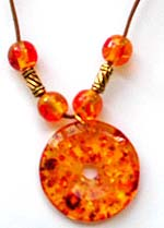 imitation amber pendant necklaces in assorted designs