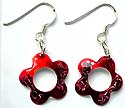 Central-empty red and black enamel colored snowflake motif sterling silver earring