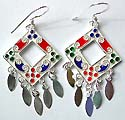 Assorted enamel colored central-empty sterling silver earring holding oval pattern on bottom