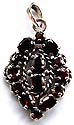 Sterling silver pendant embedded with multi red garnet stone