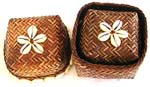 Brown retan box with flower seashell beaded on top and around edge, set of 2 pieces
