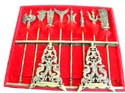Fen shui decor, Chinese metal weapon set, 8 pieces with stand