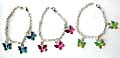 Fashion bracelet with 3 enamel color butterfly pattern decor at center, assorted color randomly pick
