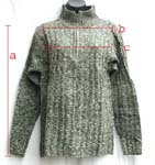 Rayon knit sweater in assorted color with high collar and zipper top; stretchy one size fits all