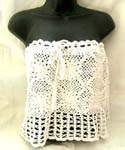Summer white crochet top with filigree flower and square pattern design