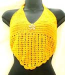 Beach wear yellow crochet top with genuine sea shell flower and top ties at neck and back design