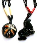 Beaded necklace with assorted genius shell pendant in different shape design