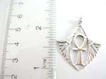 925.sterling silver celtic cross pendant with wings in triangle shape design