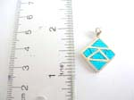 925.sterling silver pendant with multi triangle forming in diamond shape and turquoise inlaid