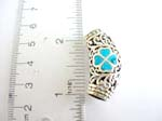 Filigree bead shape 925.sterling silver pendant with filigree flower and turquoise design