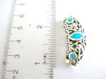 Sterling silver long cylinder with filigree pattern design embedded turquoise
