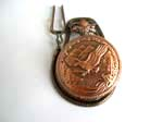 copper pocket watch motif eagle flying cross the sea