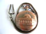 bronze pocket watch motif American Democracy pattern on cover