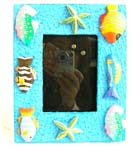 Multi faced blue photo frame with sea star and colorful tropical fish design