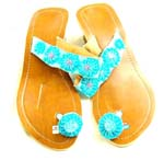 High heel imitation leather sandal with blue flower on first toe and 5 blue flower on instep parts