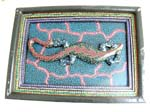 Dotted painting art gecko wall plaque with green background and pink electric line design