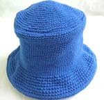 Blue crocheted lady's hemlet
