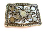 Rectangular belt buckle motif a cross in the middle and circular shape design in between