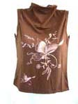 Embroidery butterfly sleeveless turtleneck lady's sweater in red, brown and white
