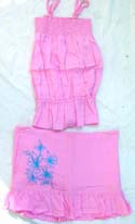 Sleeveless pre lady's skirt set, adjustable smocked top matched embroidery skirt design