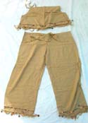 Fancy fringe lady's casual pant set top with natural color design, cocnut buckle included