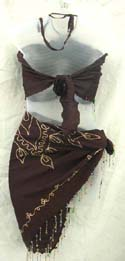 Fashion baby doll style lady's skirt set brown smock beaded fringe on top and skirt, also it had sewing embroidery flower on skirt
