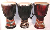 Aboriginal dotted color djembe with sheep skin on surface, also adjustable alpine stringto tune the sound